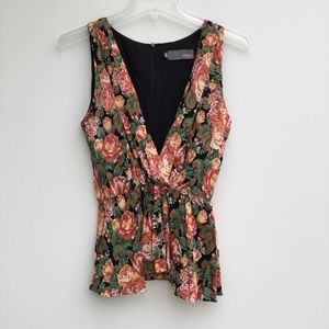 Anthropologie Myne Floral Sleeveless Peplum Top M